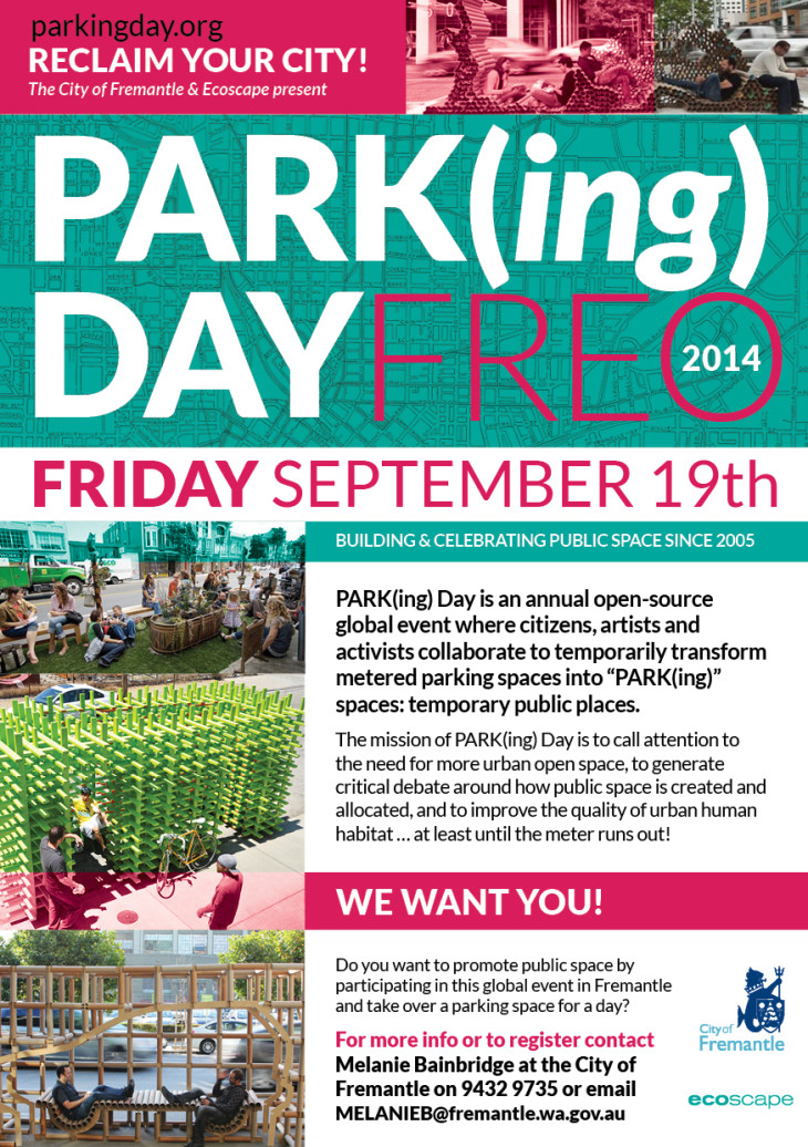 PARK(ing) Day 2014 Freo is coming!