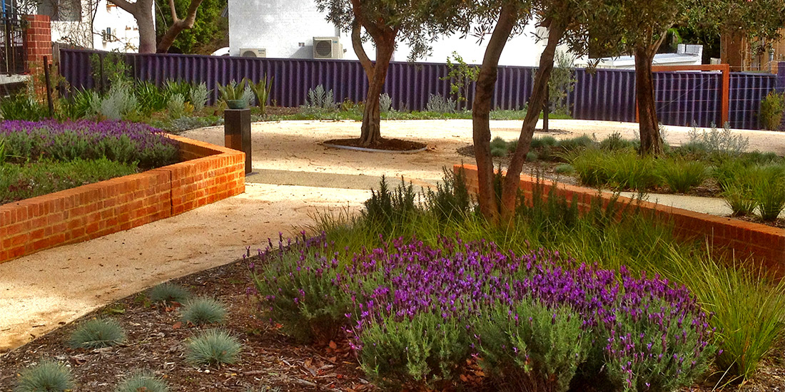 Water Corp of WA, Balcatta Office, Water Sensitive Urban Design Building Entrance